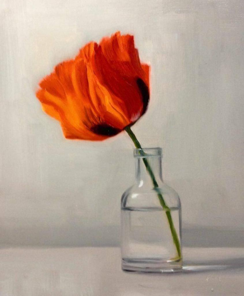 Poppy turning Oil on board 10x12 inches -Sold